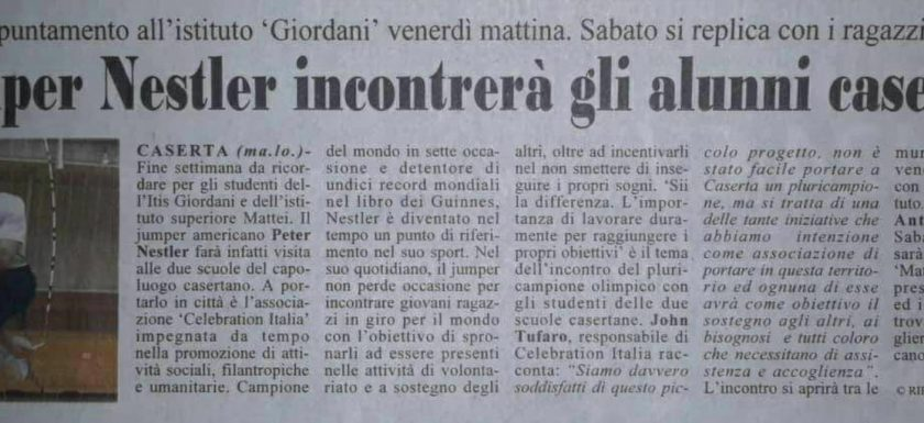 newspaper article from caserta italy jump rope show